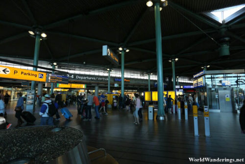 Inside Amsterdam Airport Schiphol Terminal Building