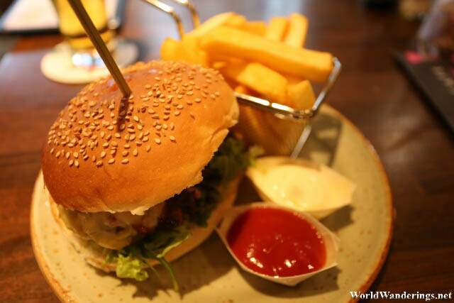 Burger at Grand Cafe Plaza at Amsterdam Airport Schiphol
