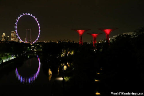 Singapore Flyer and the Supertrees at the Gardens by the Bay