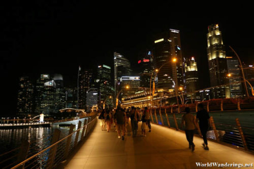 Walking On the Jubilee Bridge in Singapore
