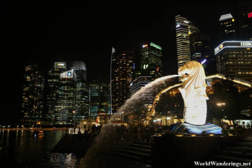 Merlion and the Singapore Central Business District